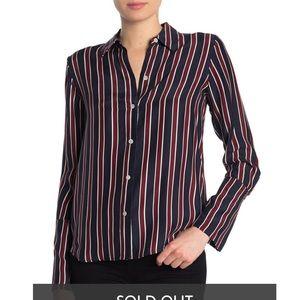 Frame Silk Navy Stripe Button Down Blouse NWT